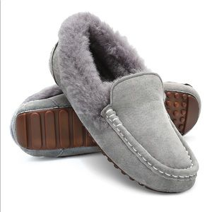 Shoes - The Lady's Plush Shearling Grey Driving Moccasins